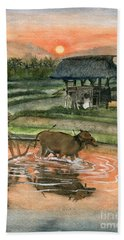 Plowing The Ricefield Hand Towel