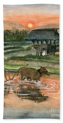 Plowing The Ricefield Bath Towel