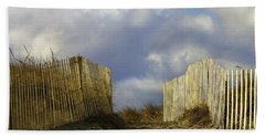 Bath Towel featuring the photograph Plum Island Fence by Betty Denise