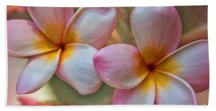 Hand Towel featuring the photograph Plumeria Pair by Peggy Hughes