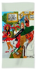 Bath Towel featuring the painting Pneumatic Girl At The Railroad Station by Don Pedro De Gracia