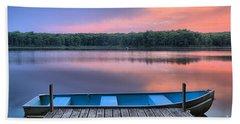 Poconos Lake Whitney Sunset Rowboat Bath Towel