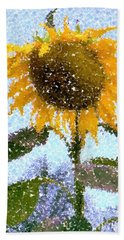 Pointillist Sunflower In Sun City Hand Towel by Barbie Corbett-Newmin