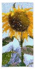 Pointillist Sunflower In Sun City Bath Towel