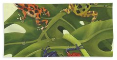 Green Tree Frogs Paintings Bath Towels
