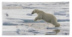 Polar Bear Jumping  Hand Towel