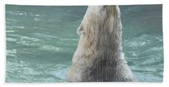 Polar Bear Jumping Out Of The Water Hand Towel by John Telfer