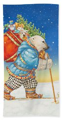 Polar Bear Santa Claus Bath Towel