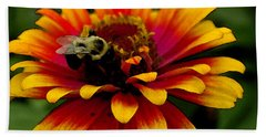Bath Towel featuring the photograph Pollenating Bumblebee by James C Thomas
