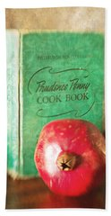 Pomegranate And Vintage Cook Book Still Life Hand Towel