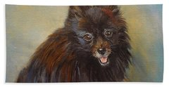Hand Towel featuring the painting Pomeranian by Jenny Lee