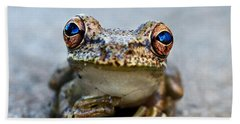Pondering Frog Hand Towel by Laura Fasulo