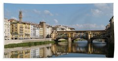 Hand Towel featuring the photograph Ponte Vecchio - The Old Bridge - Florence by Phil Banks