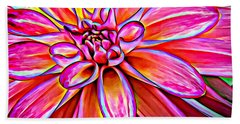 Pop Art Dahlia Bath Towel
