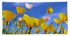 Poppies And Blue Arizona Sky Hand Towel by Lucinda Walter
