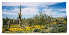 Poppies And Cactus On A Landscape Hand Towel