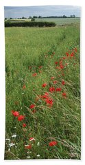Red Poppies And Cornfield Bath Towel by Phil Banks