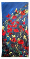 Poppies Field On A Windy Day Bath Towel