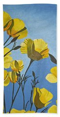 Bath Towel featuring the painting Poppies In The Sun by Donna Blossom