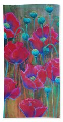 Bath Towel featuring the painting Poppies  by Jani Freimann