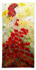 Hand Towel featuring the painting Poppies Lady by Dorothy Maier