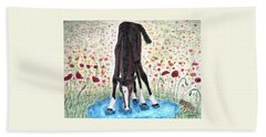 Bath Towel featuring the painting Poppies N  Puddles by Angela Davies