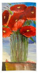 Hand Towel featuring the painting Poppies On The Window Ledge by Pamela  Meredith