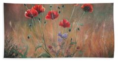 Bath Towel featuring the painting Poppies by Sorin Apostolescu