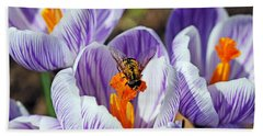 Hand Towel featuring the photograph Popping Spring Crocus by Debbie Oppermann