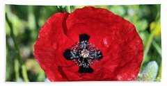 Poppy Flower Hand Towel by George Atsametakis