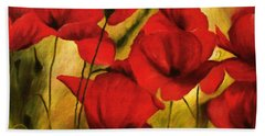 Poppy Flowers At Dusk Bath Towel