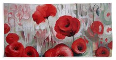 Hand Towel featuring the painting Poppy Flowers by Elena Oleniuc