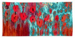 Poppy Passion Bath Towel by Holly Martinson