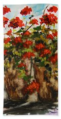 Bath Towel featuring the painting Porch Geraniums by John Williams