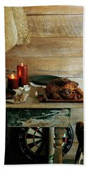 Pork With Candles Bath Towel