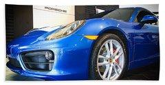 Porsche Cayman S In Sapphire Blue Hand Towel
