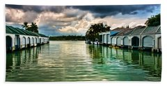 Storm Clouds Over  Port Royal Boathouses In Naples Hand Towel