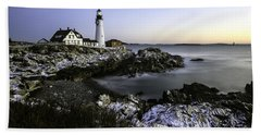 Portland Head Lighthouse At Dawn Hand Towel by Betty Denise