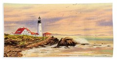 Portland Head Lighthouse Maine Bath Towel by Bill Holkham