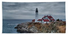 Bath Towel featuring the photograph Portland Headlight 14440 by Guy Whiteley