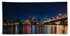 Portland Oregon Nightscape Hand Towel by Don Schwartz