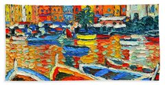 Portovenere Harbor - Italy - Ligurian Riviera - Colorful Boats And Reflections Bath Towel
