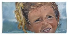 Hand Towel featuring the painting Portrait - Emma - Beach by Jan Dappen