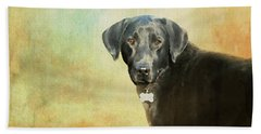 Portrait Of A Black Labrador Retriever Bath Towel