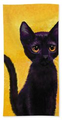 portrait of a small black cat named  LuLu Hand Towel