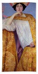 Portrait Of A Woman In A Golden Dress Hand Towel