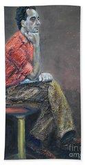Portrait Of Ali Akrei - The Painter Hand Towel