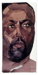 Watercolor Portrait Of An Athlete Bath Towel