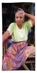 Bath Towel featuring the photograph Portrait Of Elderly Burmese Lady Sitting In Front Of Home 33rd Street Chanayethazan Mandalay Burma by Ralph A  Ledergerber-Photography
