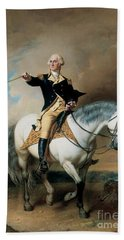Portrait Of George Washington Taking The Salute At Trenton Hand Towel